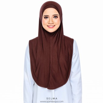 Selma Instant Tudong - Chocolate Brown