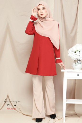 Iylia Blouse Raya - Red Orange