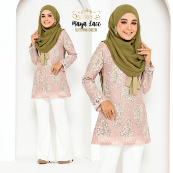 Maya Lace Blouse - Soft Pink Green